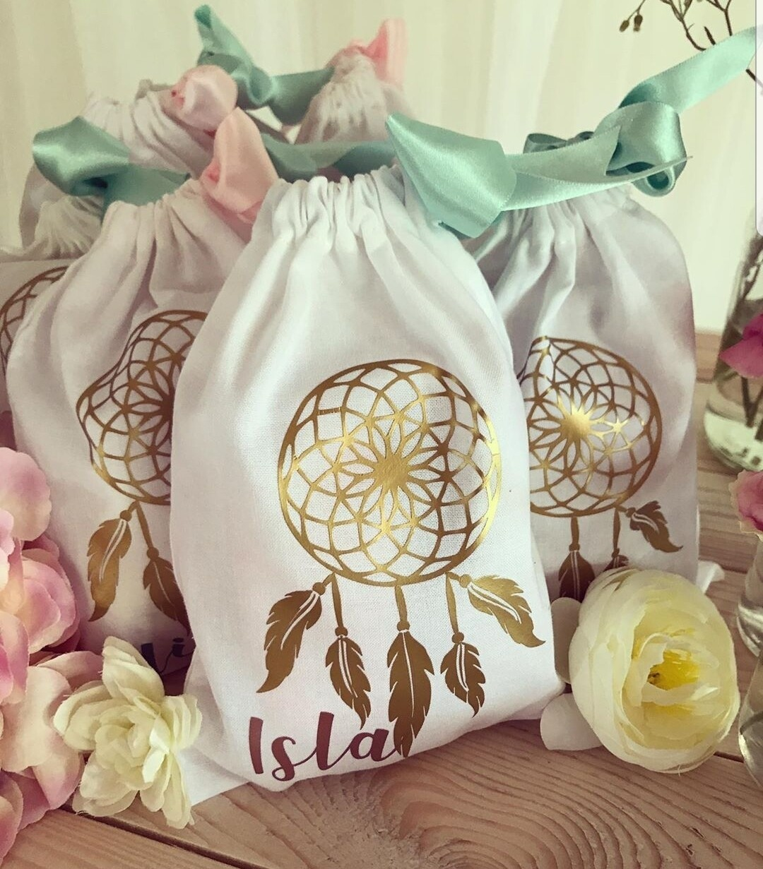 Party bag ideas. Fabric party bag with dream catcher