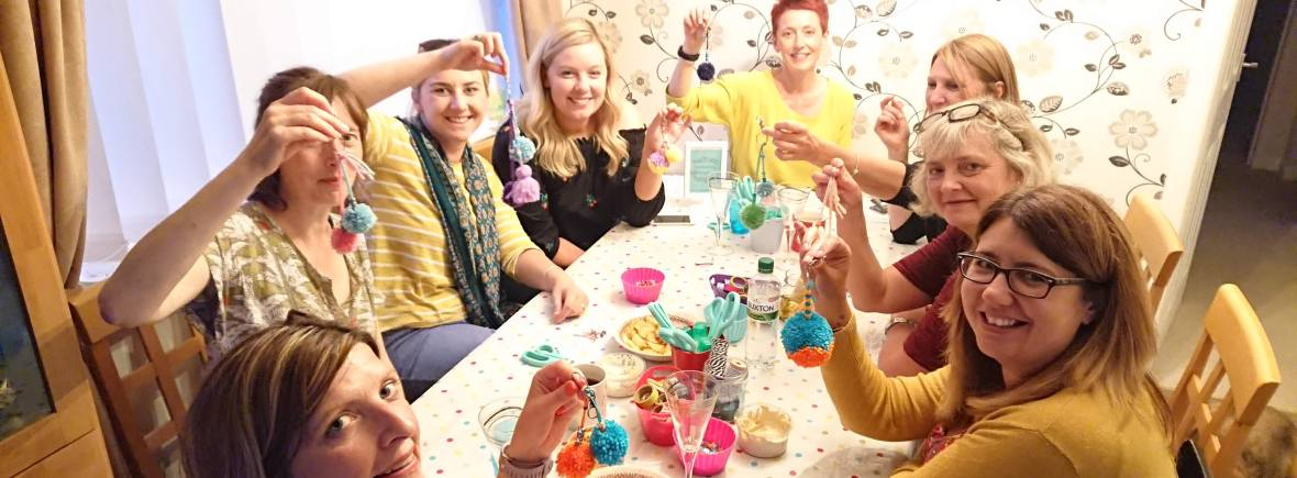 Pom pom key ring crafty hen party