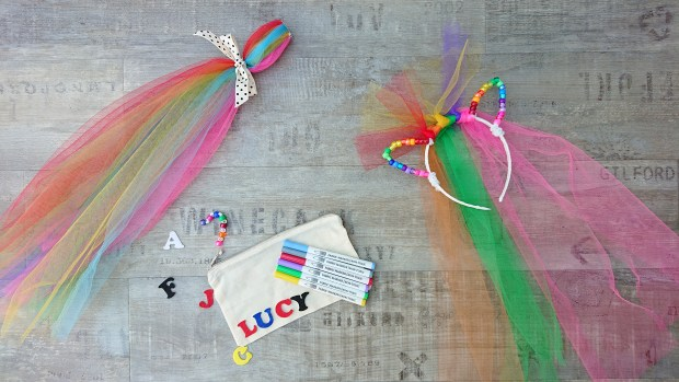 Virtual pony craft party kit - pony mane, tail and pencil case decorating