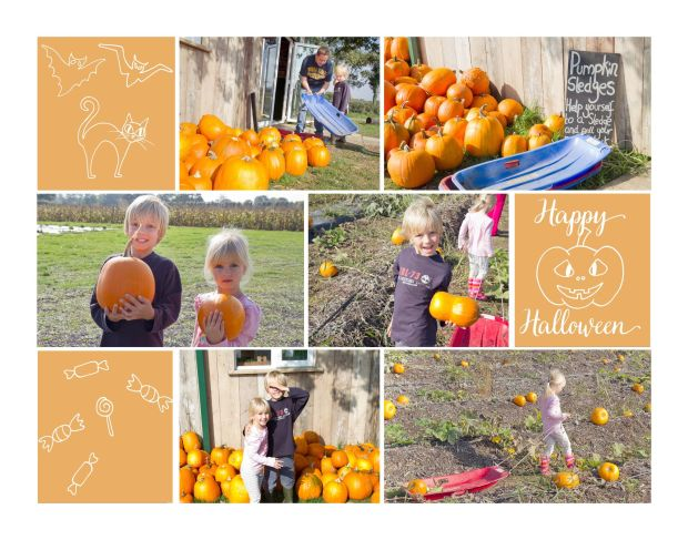 Halloween activities for kids - collage of photos of children at a pumpkin picking patch