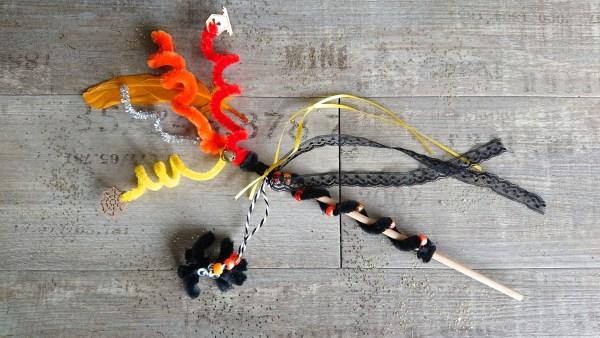 Orange and black Halloween wand