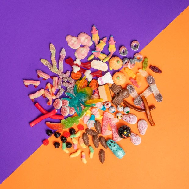 Halloween sweets including worms, spiders, teeth, skulls and maggots