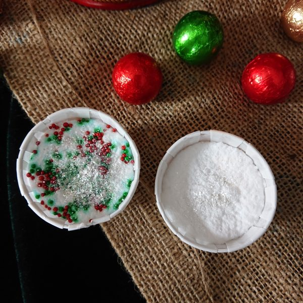 Candy cane scented bath bombs with glitter and red and green sprinkles