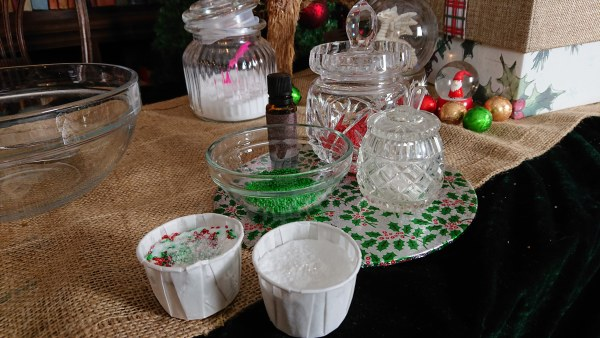 Candy cane bath bombs and the supplies to make them in pretty pots