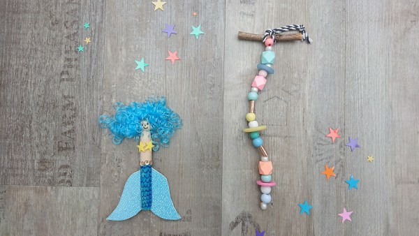 Mermaid craft party - Blue peg doll mermaid and pastel coloured mobile
