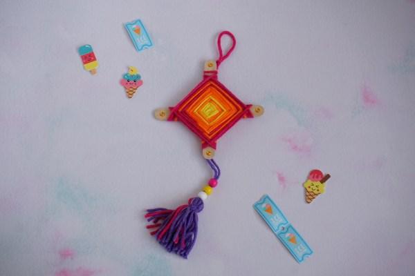 Summer staycation craft kit - a rainbow eye of god weaving with tassel