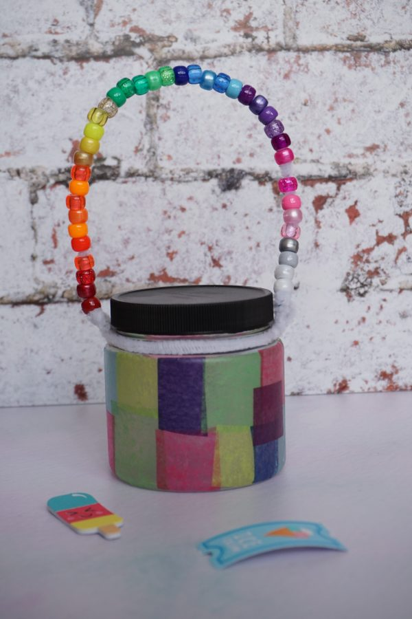 summer staycation craft kit - colourful beaded lantern