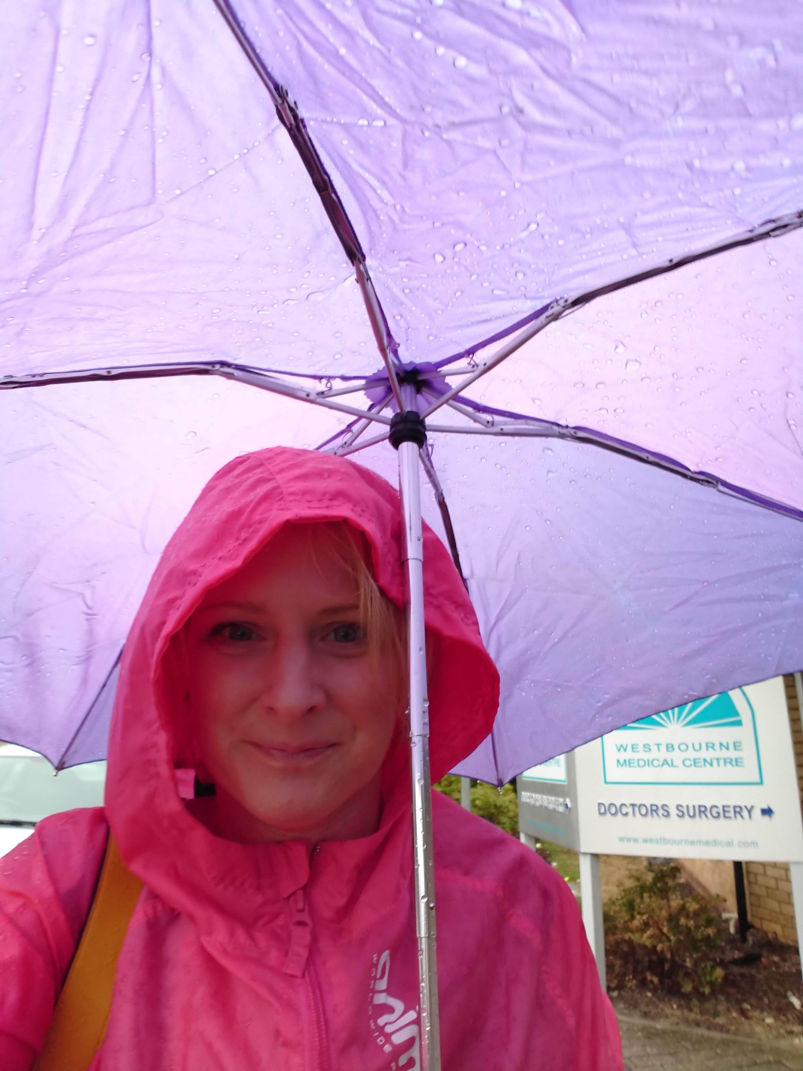 lady with purple umbrella in the rain