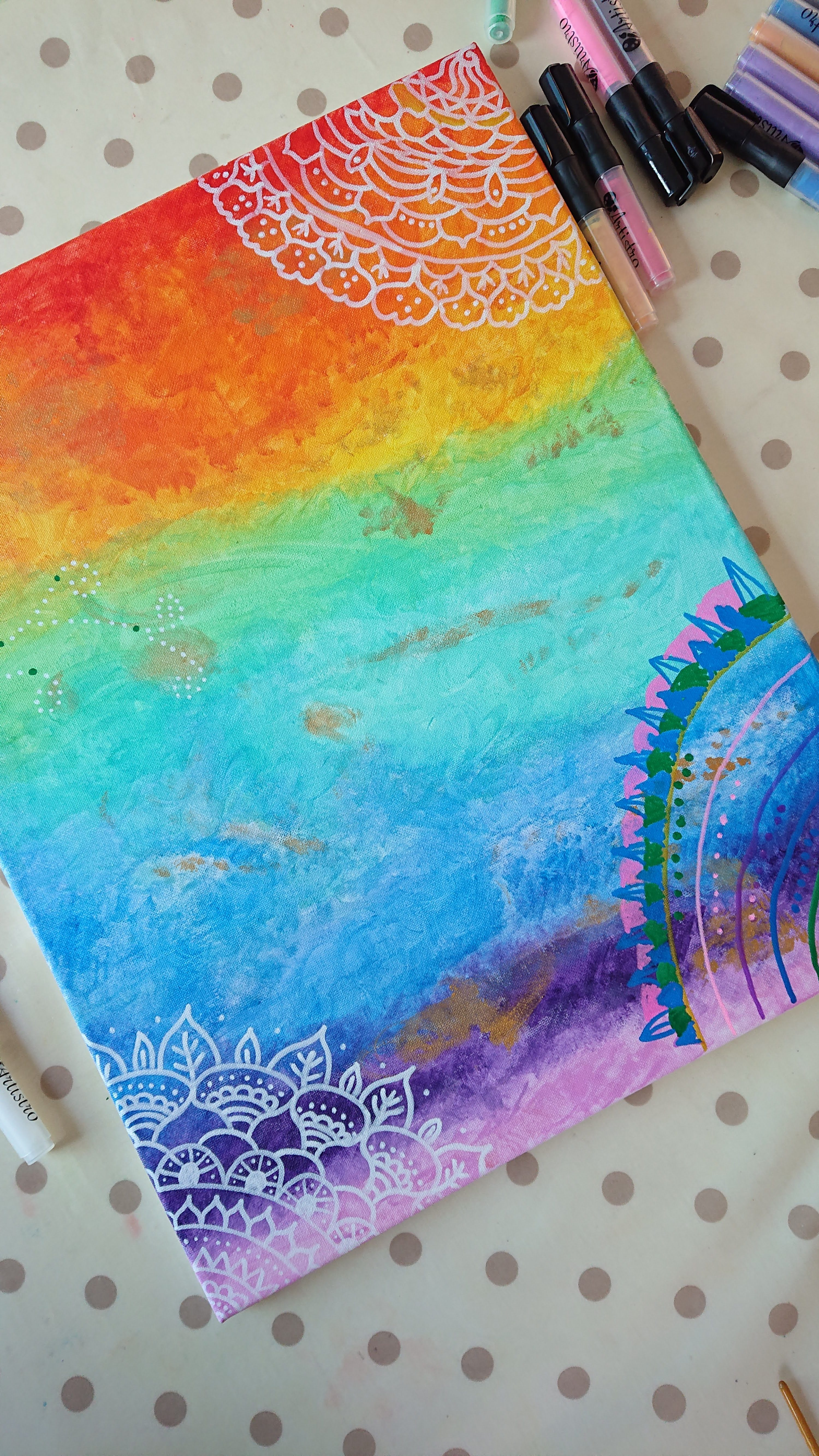 easy summer crafts for kids. Canvas painted in rainbow colours
