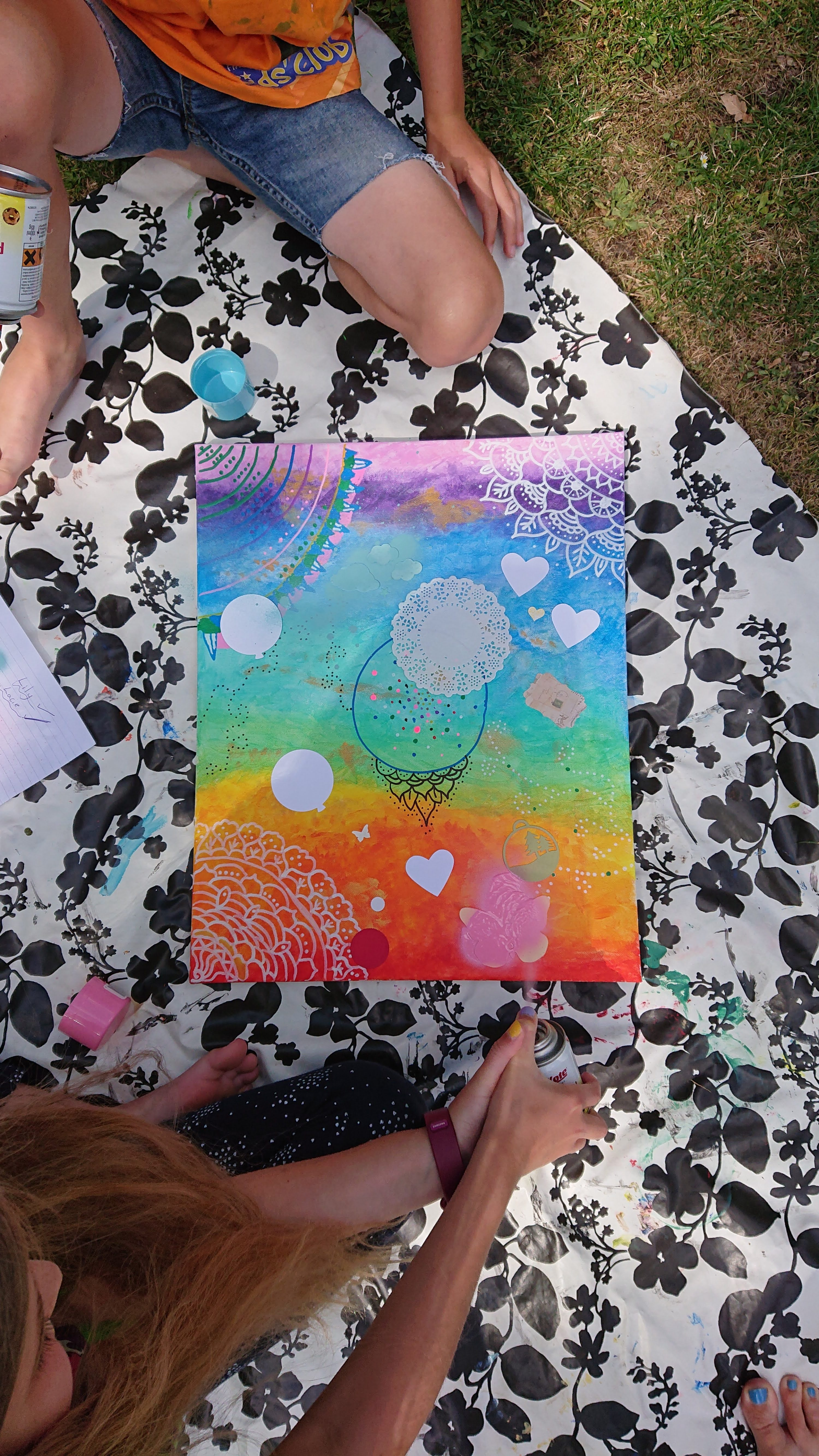 Easy summer crafts for kids. two kids painting in the garden