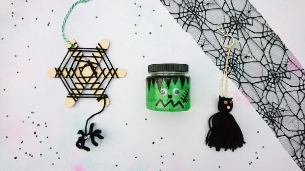 Halloween crafts - a kit containing a lantern, cat keyring and cobweb decoration