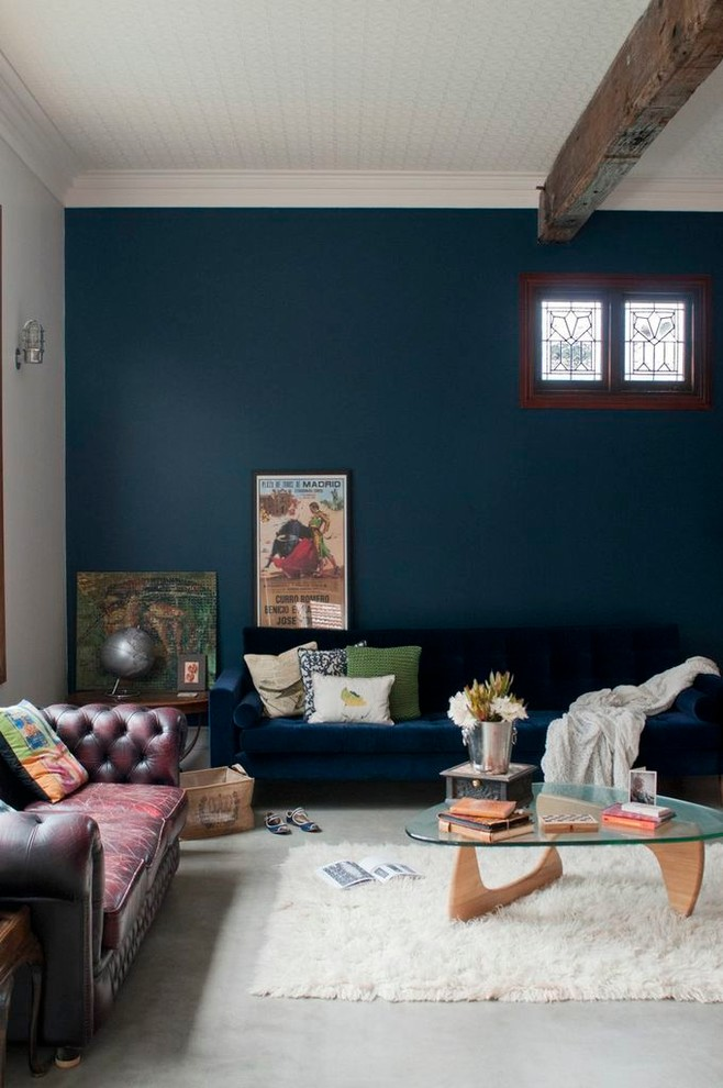 Glamorous Dark Blue Eclectic Living Room