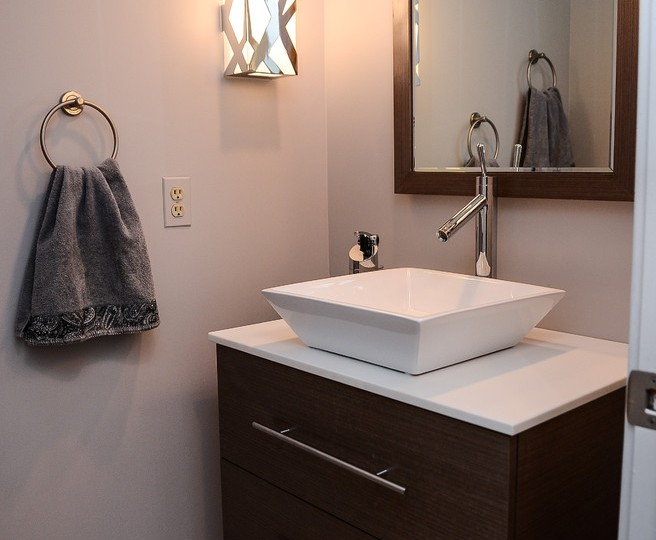 Chic Vessel Sink Vanity Contemporary Powder Room