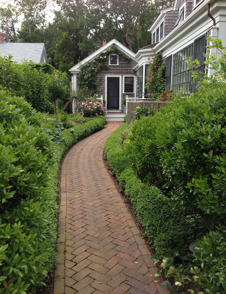 brick paving cottage path roses shrubs side yard walkway ... on Side Yard Walkway Ideas  id=19877