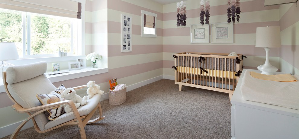 Chic rocking chair cushions in Nursery Transitional with Coordinating Fabrics next to Purple Grey alongside Kids Room Paint and Decorative Ledge
