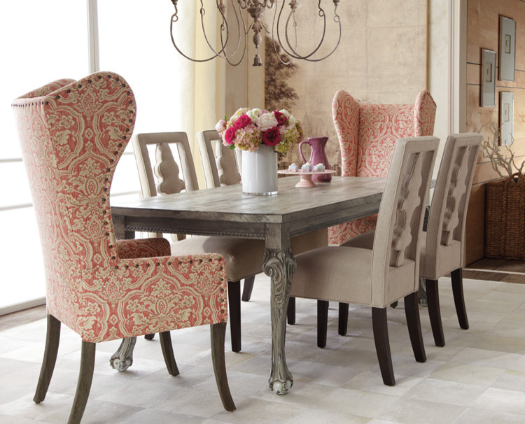Magnificent Wingback Chair In Dining Room Traditional With Wing Chair Next To Seagrass Chairs