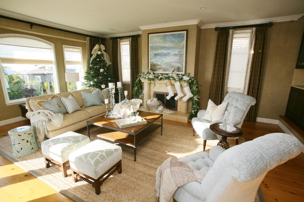 Marvelous christmas stocking holders in Living Room Traditional with Yellow Sofa  next to Yellow Couch  alongside Layer Curtains  and Beige Living Room