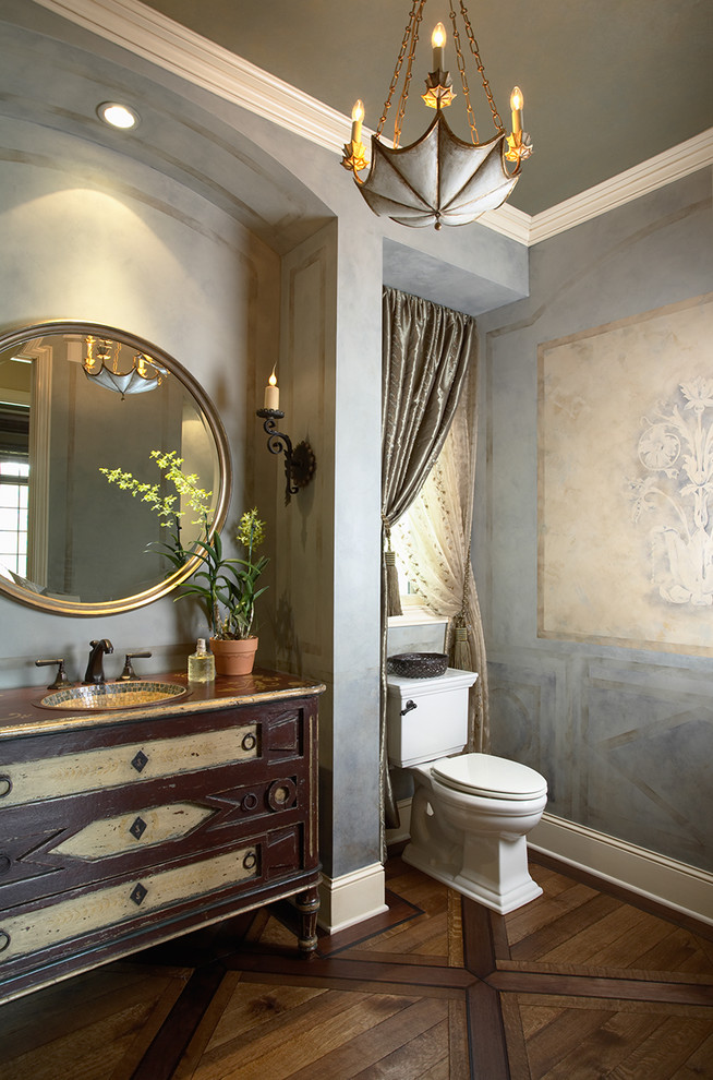 Baroque candle sconce in Powder Room Traditional with ... on Vintage Wall Sconce Candle Holder Decorating Ideas id=23819