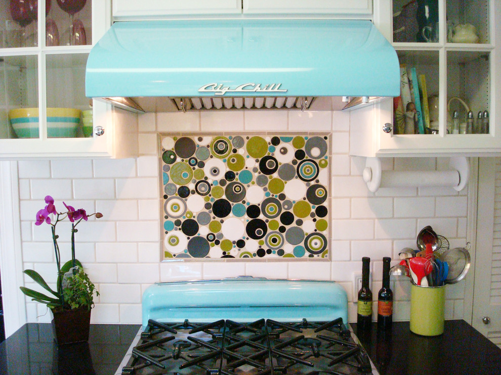 Baroque wall mount paper towel holder in Kitchen Eclectic with Pewter Grout  next to Circle Tile  alongside Colored Stove  and Bubble Tiles
