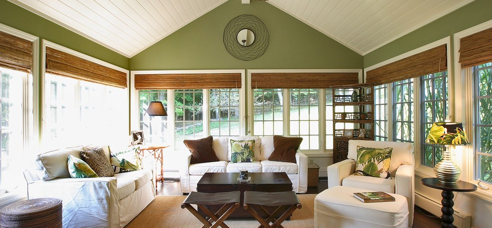 Beautiful kichler ceiling fans in Sunroom Traditional with Vaulted Ceiling next to Popular Exterior House Colors alongside Warm Living Room Paint Colors and Cheap Easy Patio Ideas