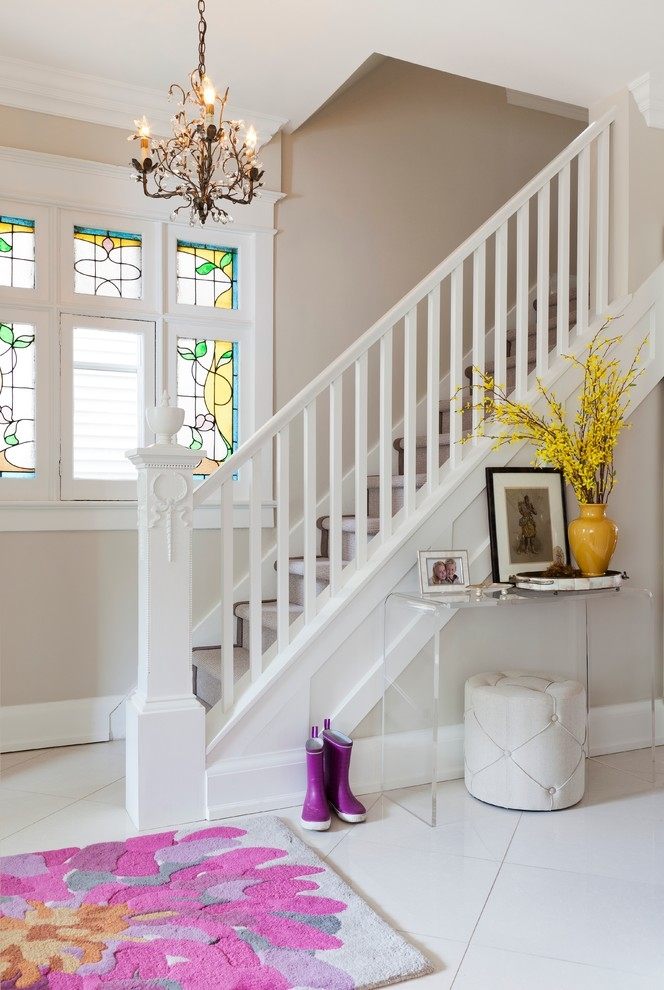 Bright Acrylic Console Table In Staircase Transitional With   White Stairs With Carpet   Chocolate Brown   Oak   Solid Colour   Colour   Landing