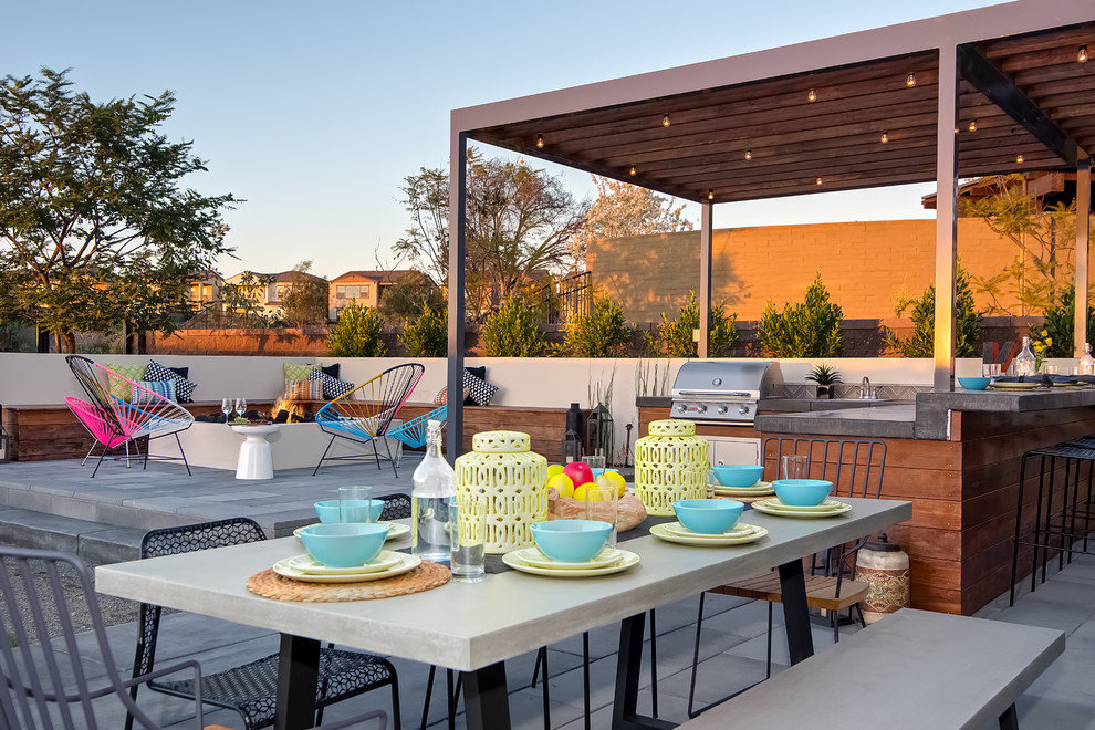 Bright dishware sets in Patio Contemporary with Outdoor ... on Diy Bbq Patio id=46112