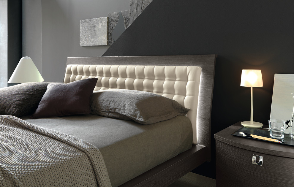 Bright masculine bedding in Bedroom Contemporary with Led ... on Mirrors Next To Bed  id=58714