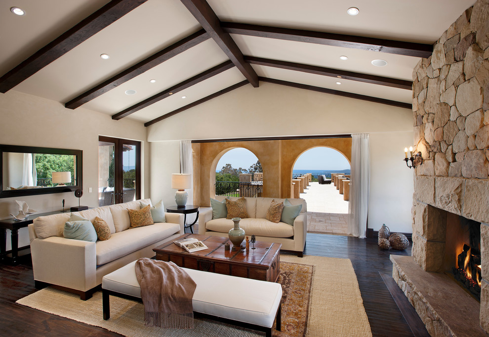 Bright Recliner Loveseat In Living Room Mediterranean With Dock. Exposed Wood  Beams Part 36