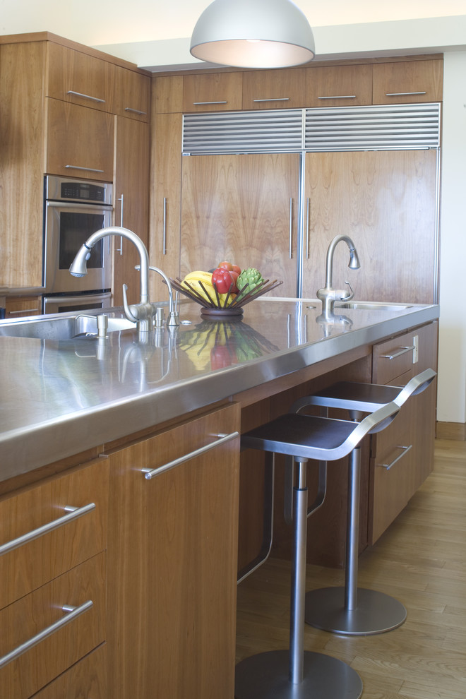 Chic stainless steel griddle in Kitchen Contemporary with Kitchens  next to Modern Steel Gate  alongside Wood Look Porcelain Tile Floor  and Porcelain Tile Looks Like Marble