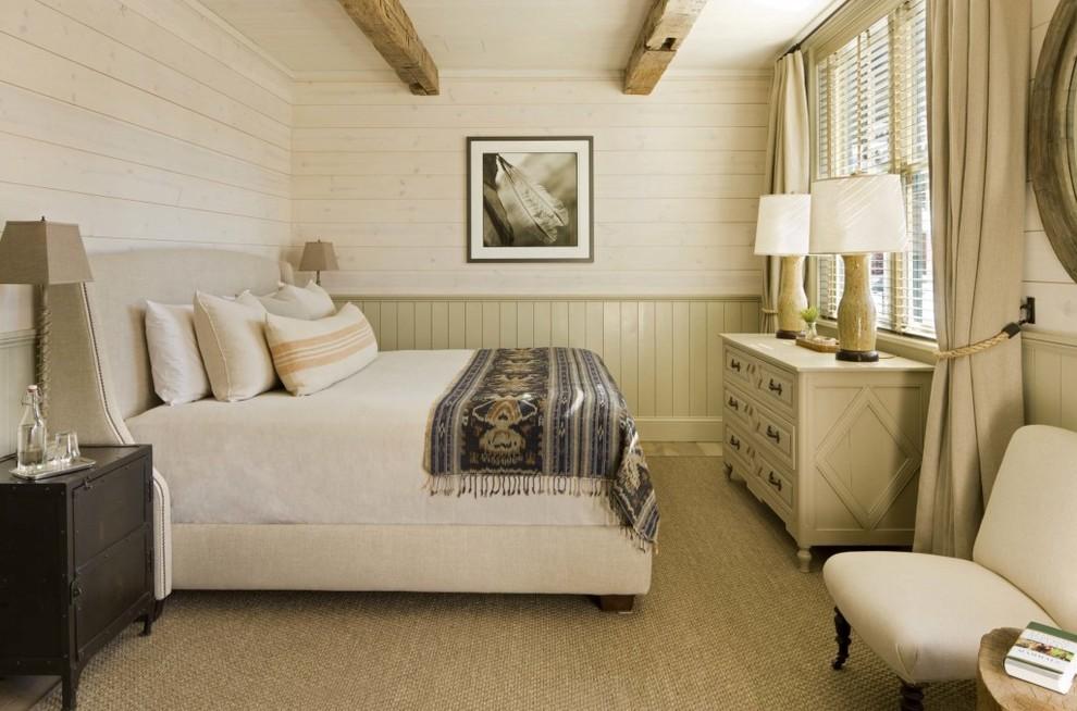 Chic wingback bed in Bedroom Rustic with English Cottage  next to Half Wall Paneling  alongside Wood Panel Walls  and Shiplap