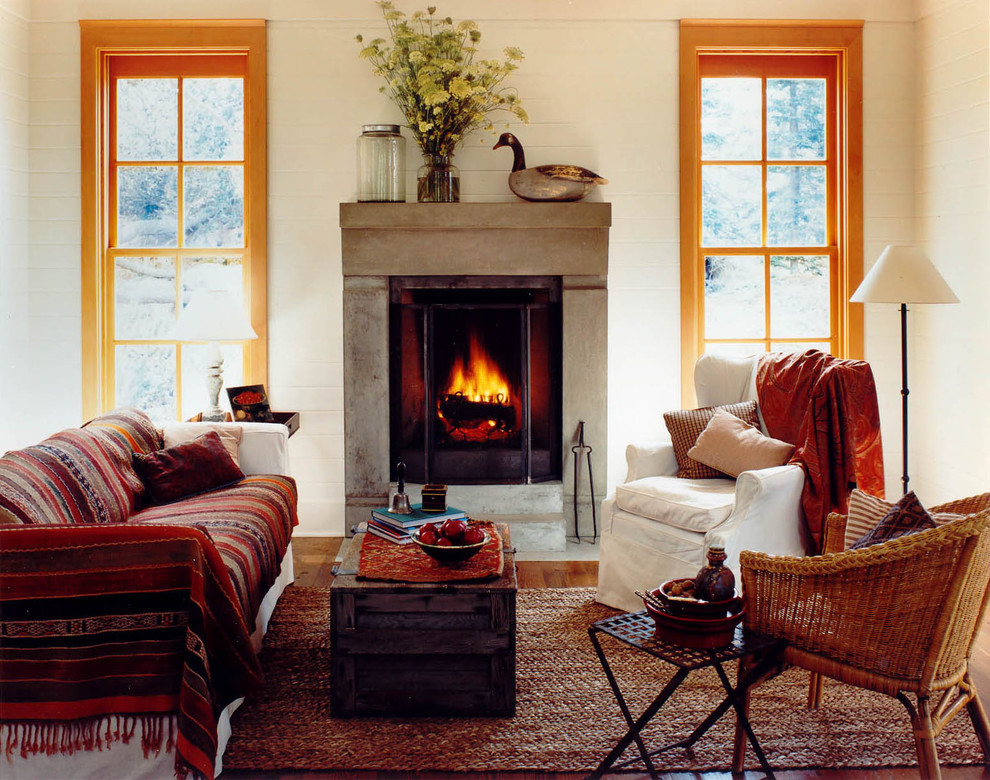 Cool duck river textile in Living Room Rustic with Fireplace Surround  next to Fireplace Mantel Decorating Ideas  alongside Brown Living Room Furniture  and Warm Living Room Paint Colors