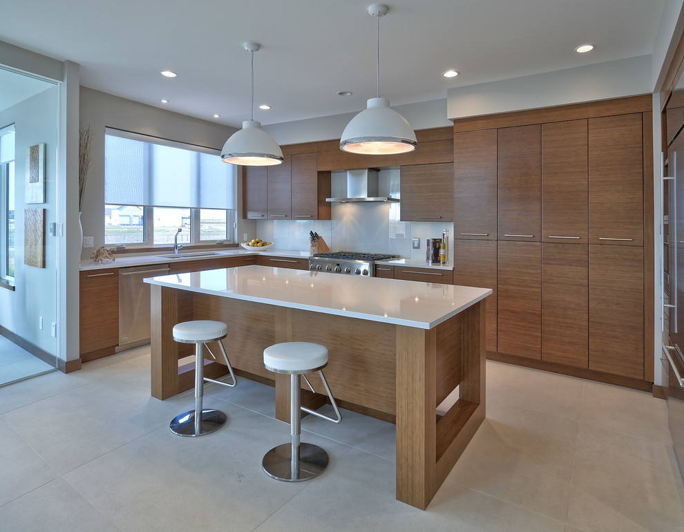 Cool swivel counter stools in Kitchen Contemporary with Chakra Beige Quartz  next to Swivel Counter Stool  alongside Island Mounted Swivel Stools  and Beige Tile Floor