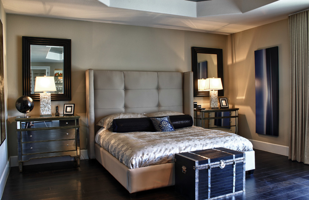 Elegant mirrored nightstands in Bedroom Contemporary with ... on Mirrors Next To Bed  id=37401