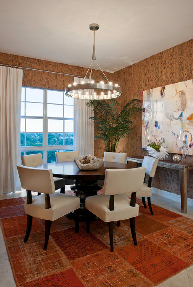 Glamorous cork underlayment in Dining Room Contemporary with Leonia Silver Tile  next to Cork Board Wall  alongside Beach Themed Wallpaper  and Metallic Wallpaper