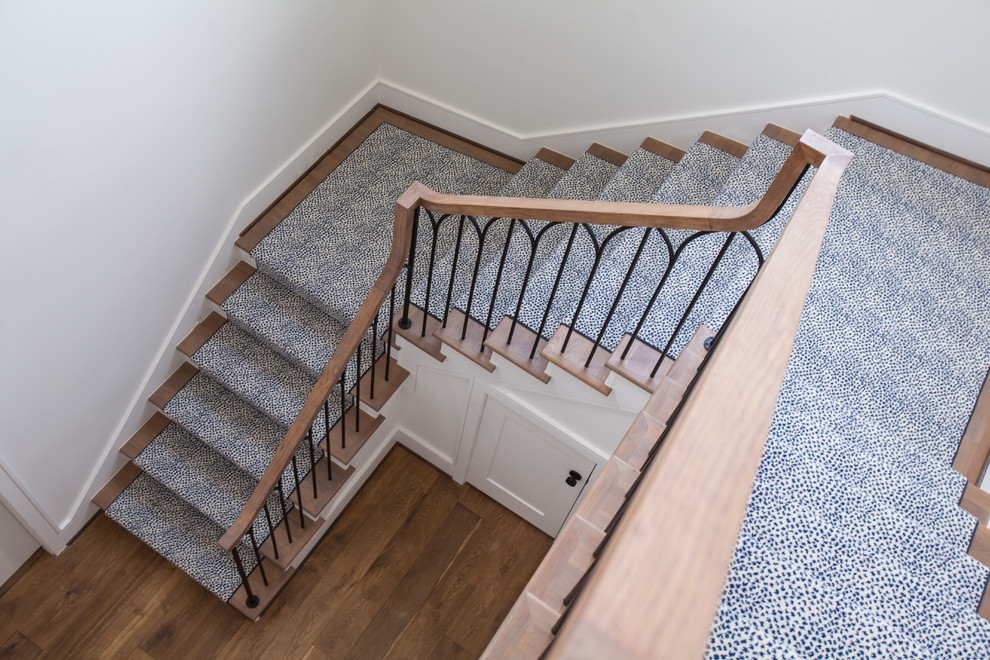 Glamorous Hallway Runners In Staircase Transitional With Carpet | Stair And Hallway Runners | Landing | Stair Treads | Wool | Non Slip | Images Tagged