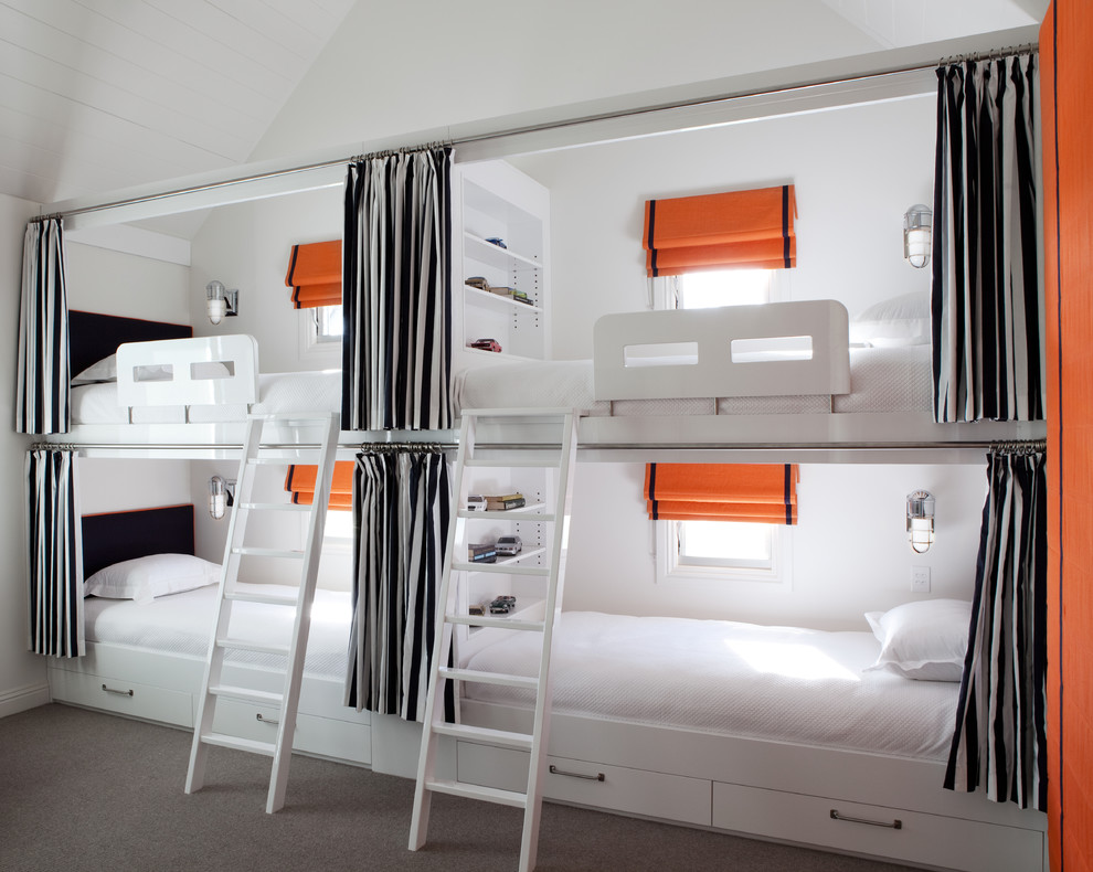 Gorgeous  trundle bunk beds in Contemporary Melbourne with Kids Room With Two Beds  next to Bedroom Curtain Ideas  alongside Large Windows Treatments  and Bay Window Treatment Ideas
