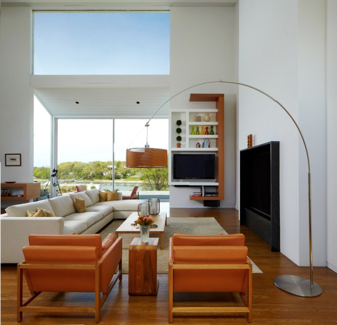 Inspired Arc Floor Lamps In Living Room Modern With New York