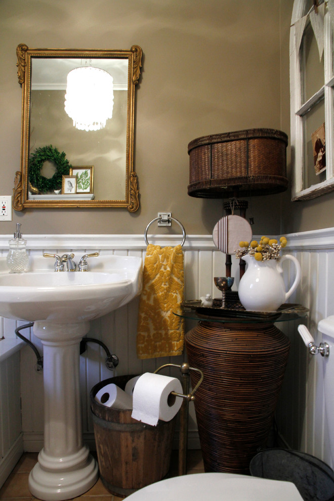 Magnificent wall mount paper towel holder in Eclectic Other Metro with Stained Woodwork Painted Trim  next to Bathroom Vanity Lighting Ideas  alongside Bathroom Beadboard Ideas  and Bathroom Paint Color