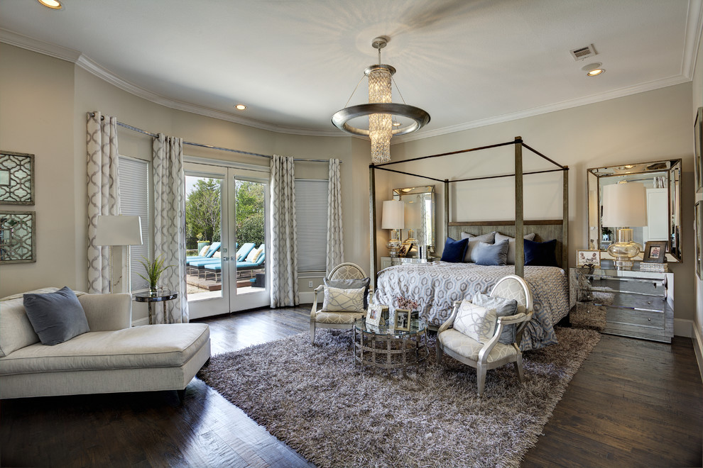 Elegant mirrored nightstands in Bedroom Contemporary with ... on Mirrors Next To Bed  id=83231