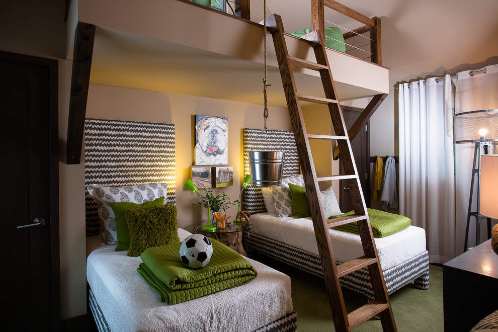 Marvelous upholstered platform bed in Kids Contemporary with Twin Over Full Bunk Bed  next to Boy Bedroom  alongside Boy Room  and Building Loft Beds With Desks