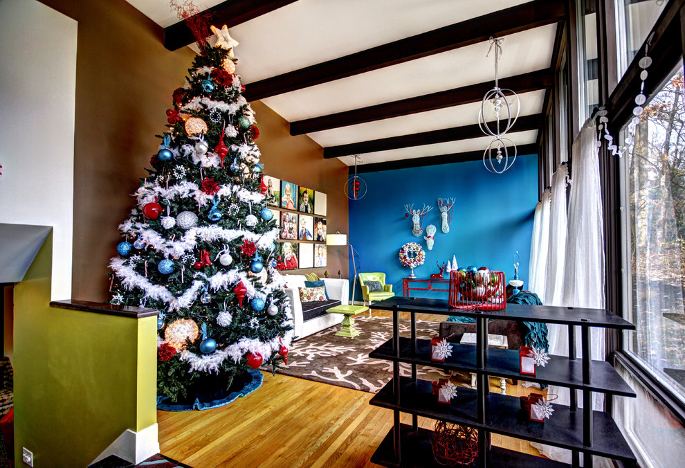 Pretty cheap artificial christmas trees in Living Room Midcentury with Pale Oak Benjamin Moore next to Blue And Brown alongside Transom Window and Chocolate Brown Couch