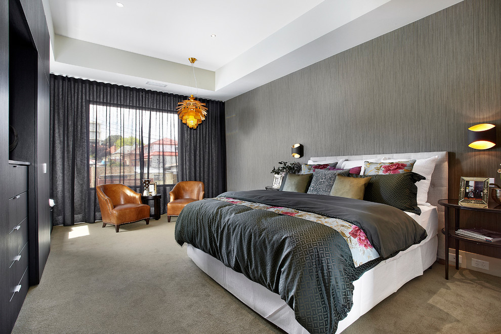 Pretty light blocking curtains in Bedroom Contemporary ... on Master Bedroom Curtain Ideas  id=43014
