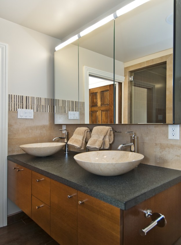 pretty mirrored medicine cabinet in bathroom transitional with over