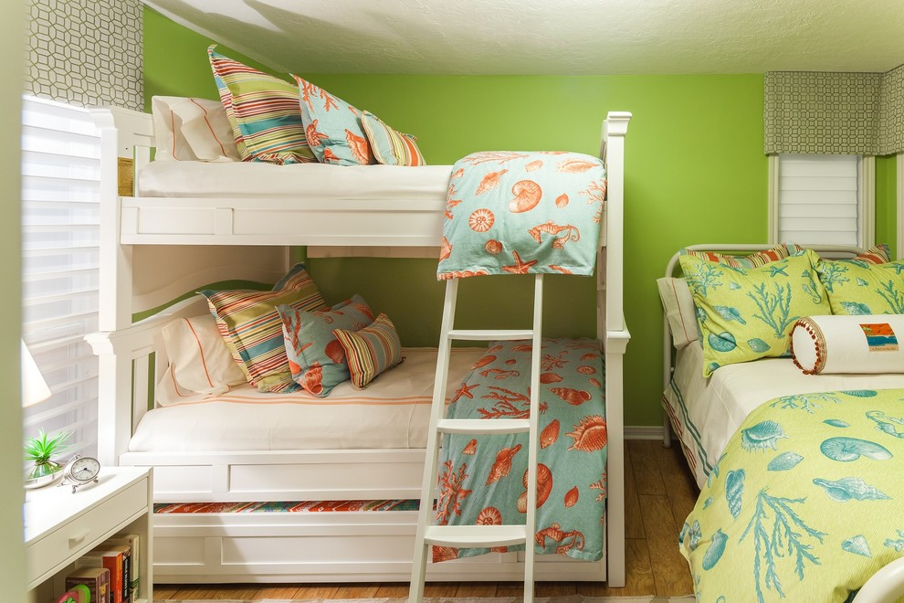 Pretty trundle bunk beds in Bedroom Beach Style with Bunk Bed With Trundle  next to Green And Coral  alongside White Bed Frame  and Bunk Beds