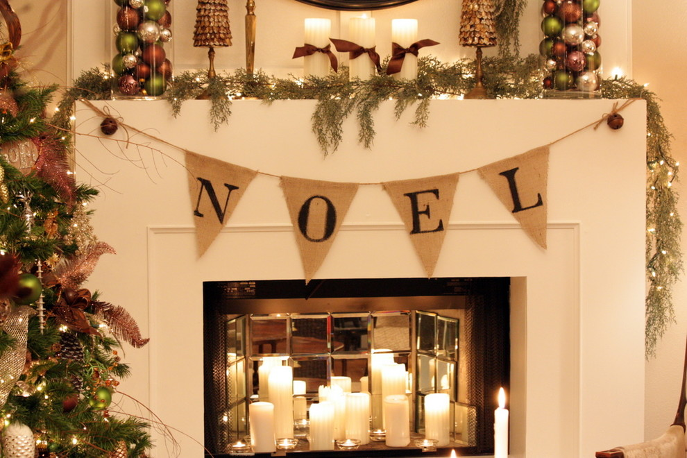 Splashy burlap christmas tree skirt in Living Room Traditional with Hanging Guns  next to Mantel Decor  alongside Candles In Fireplace  and Mirror Tile