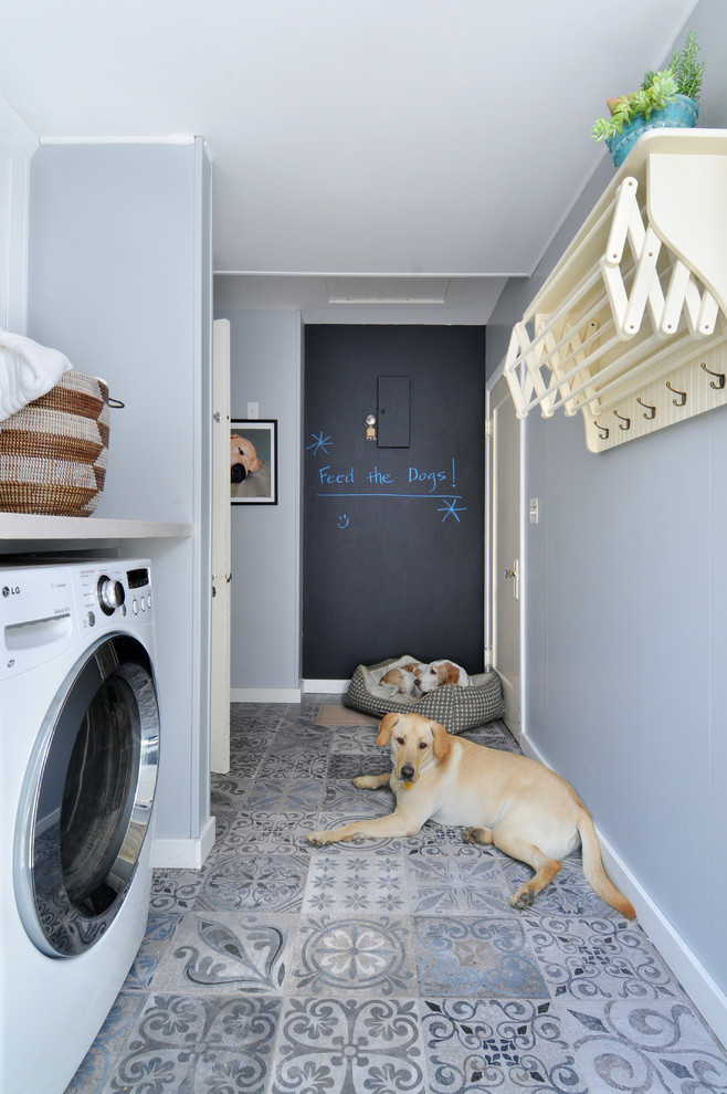 Splashy Wall Mounted Drying Rack In Laundry Room Traditional With Next To Hallway Laundry