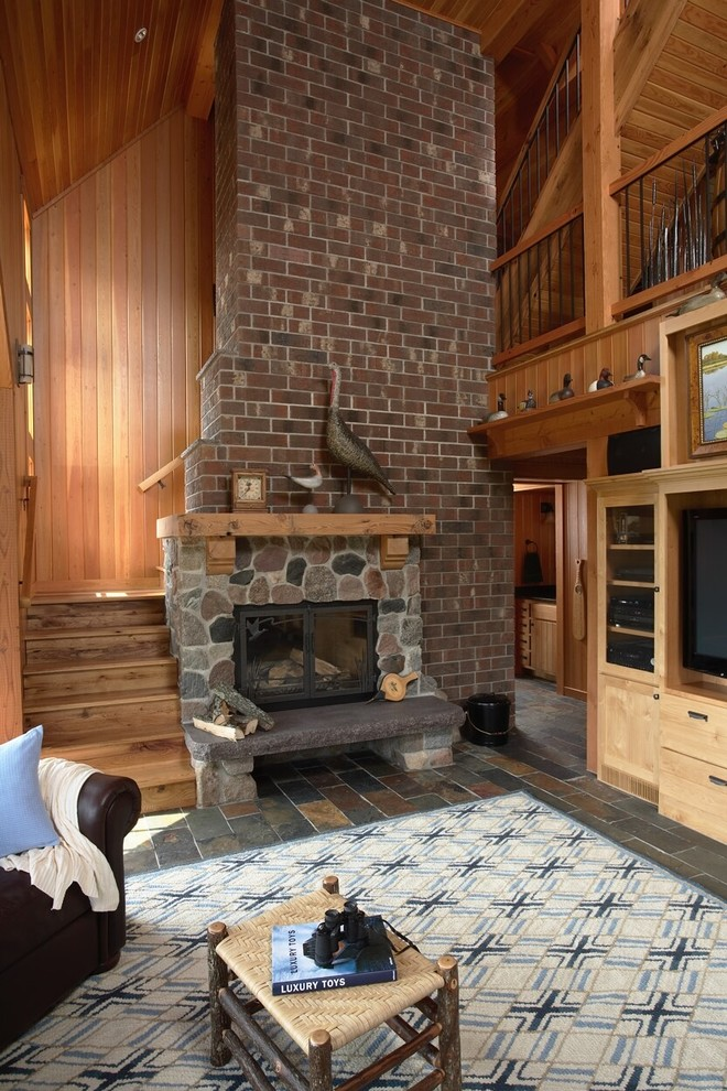 Superb duck river textile in Living Room Eclectic with Wood Stove Hearth  next to Rustic Modern  alongside Tongue And Groove Walls  and Raised Hearth