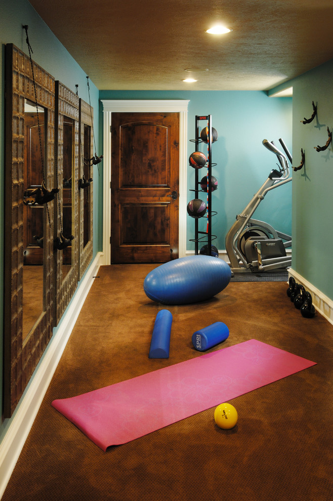 Superb thick yoga mat in Home Gym Traditional with Creative Bike Storage  next to Flooring  alongside Exercise Room  and Small Home Gyms