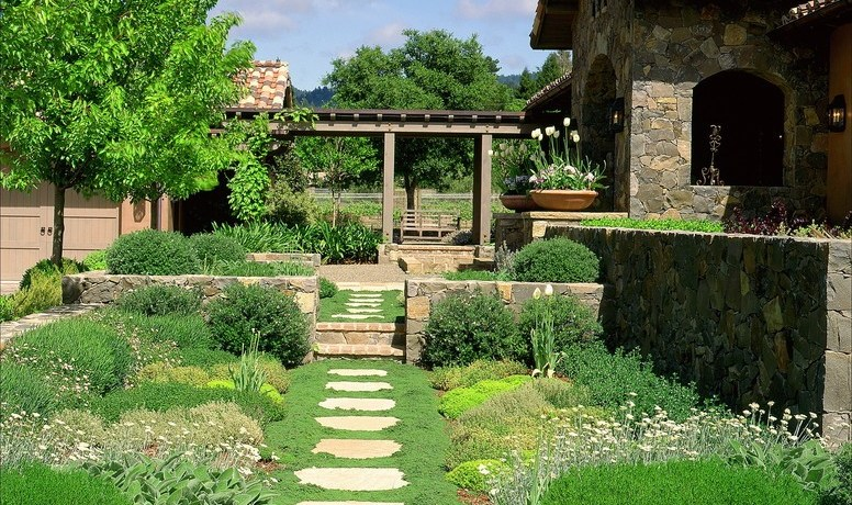 nice above ground landscape mediterranean with shade tree traditional outdoor wall art