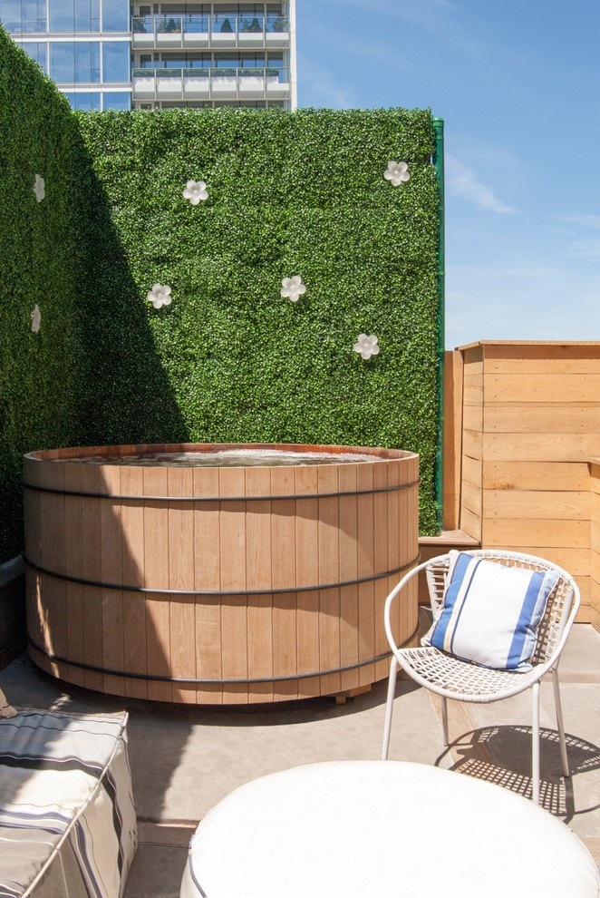 Hot Tub Deck Contemporary With Plant Wall Privacy Fencing